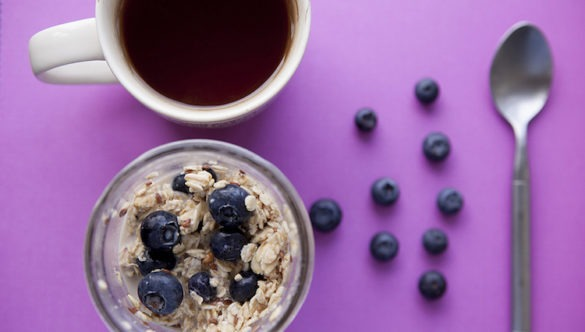 blueberry oatmeal and coffee