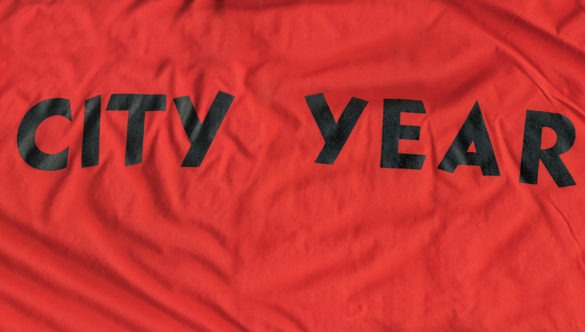 """Back of the City Year jacket with """"City Year"""" across the back."""