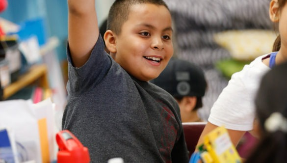 an elementary student raises his hand with excitement