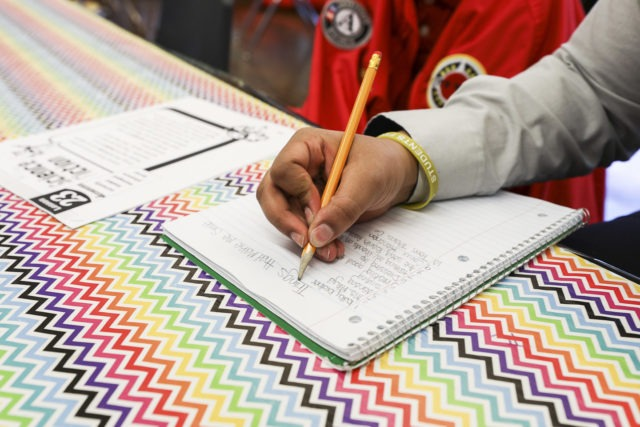 A student writes down notes with a pencil in a notebook.