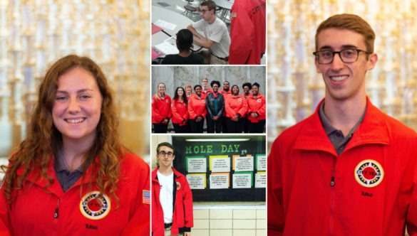 a collage of photos from service: a team of AmeriCorps members, An americorps member sitting at a desk with a student, and portraits of Sally and Ryan