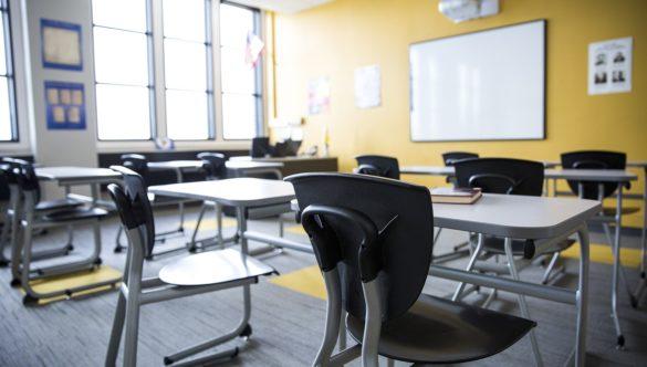 empty classroom with desks