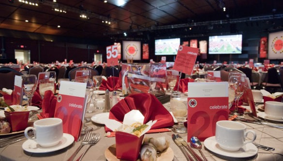 tables set up for a gala event