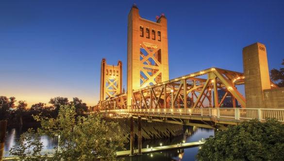 Sacramento bridge at dusk