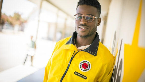 A City Year AmeriCorps member at school.