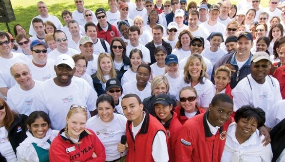 AmeriCorps members and volunteers at a service day