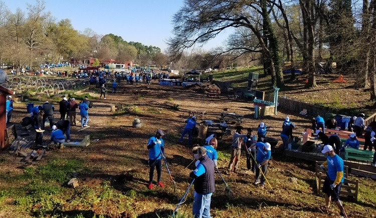 AT&T volunteers garden and landscape on the service day at the Truly Living Well Center.