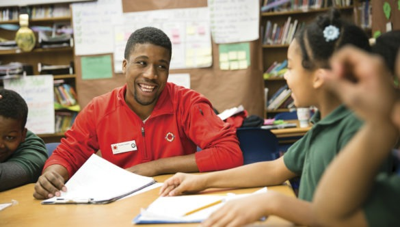City Year Chicago member with students