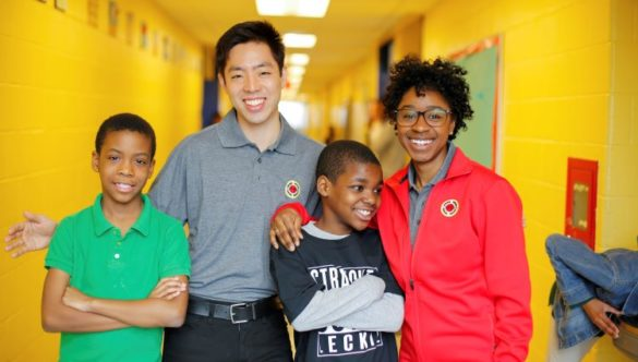 Students and AmeriCorps member