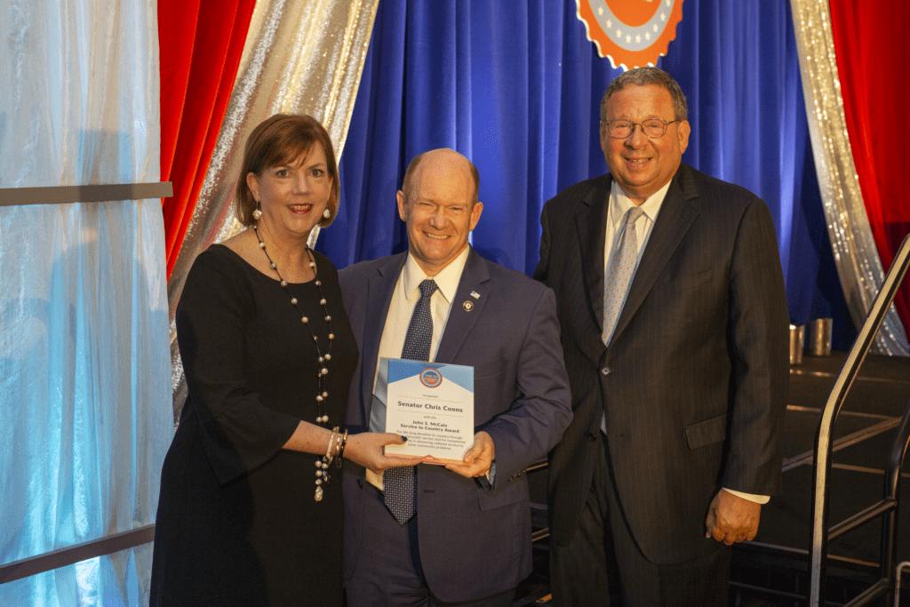 Sen. Chris Coons receives the John S. McCain Service to Country Award