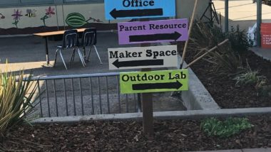 Post with directional signs. Top sign is blue with office, next is purple sign with for the parent resource room. Third is a white sign for the maker space. The bottom sign is green and is for the outdoor lab.