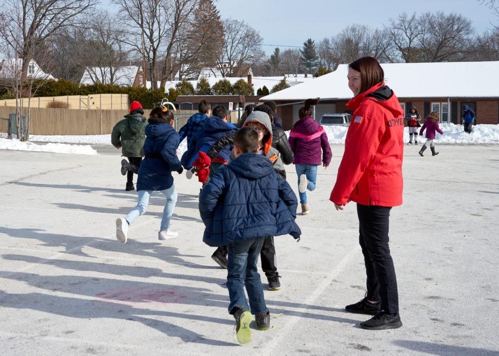 Audrey Eidem runs playworks games during recess