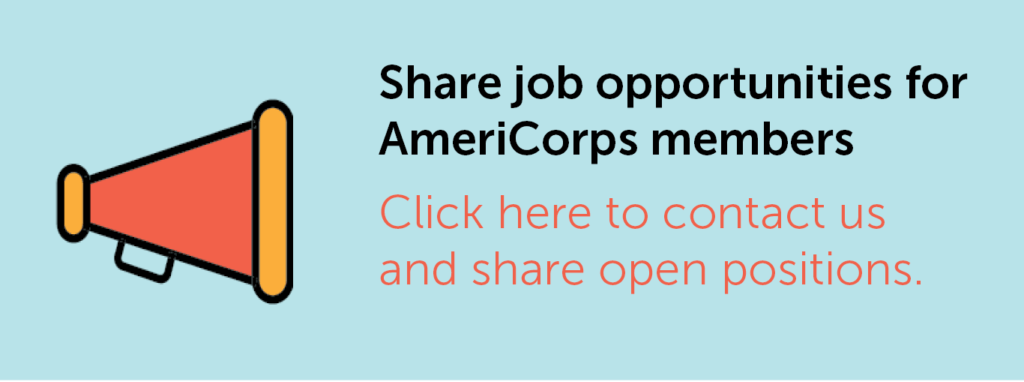 Icon of a megaphone with the text to share job opportunities with graduating AmeriCorps members.