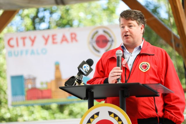 City Year AmeriCorps CEO Jim Balfanz at Buffalo Opening Day