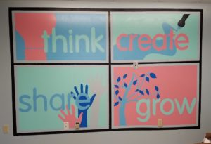Mural divided into four sections. The top left has think with a lightbulb. The top right says create with paint brush and paint trail. The bottom left has the word share with several hands painted in. The bottom right says grow with a tree.