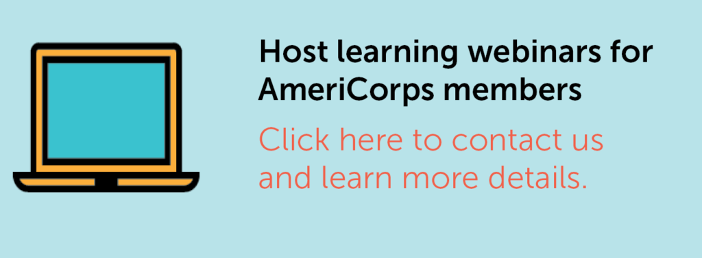 Icon of a laptop with the text about hosting learning webinars for AmeriCorps members.