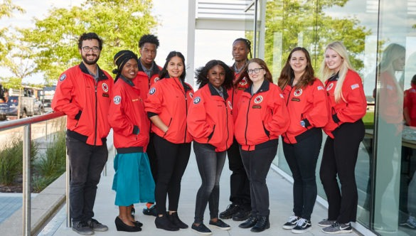 City Year Milwaukee AmeriCorps members at Opening Day in September, 2019