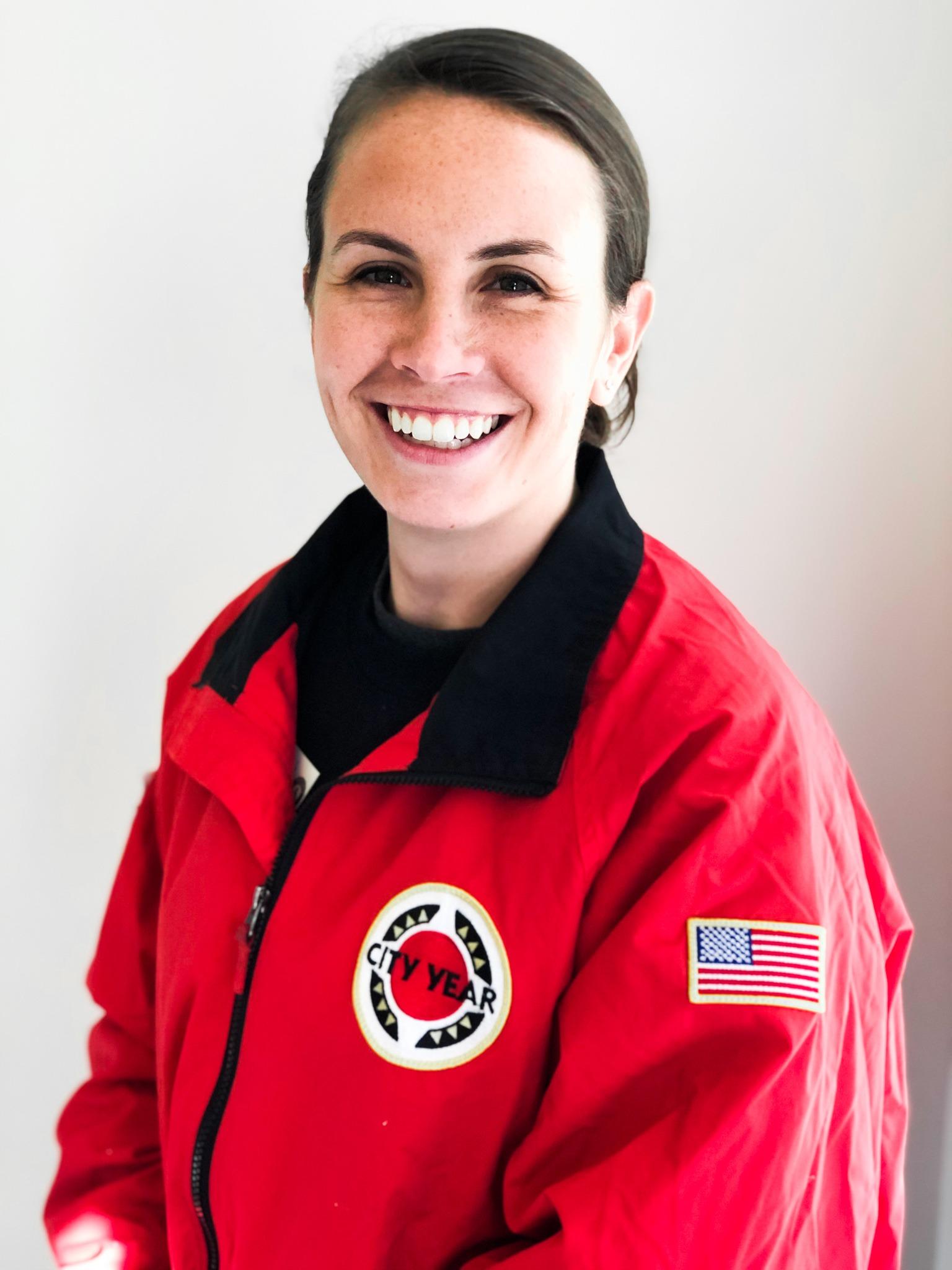 Allison Paul in a CY red jacket