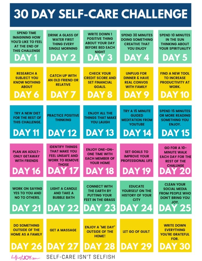 30 day self-care challenge with 30 days of suggested ways to self-care