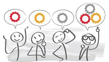 Four stick figures with speech bubbles over their head. The three figures on the left have one cog and the figure on the right combines the cogs from the other three stick figures into their speech bubble.