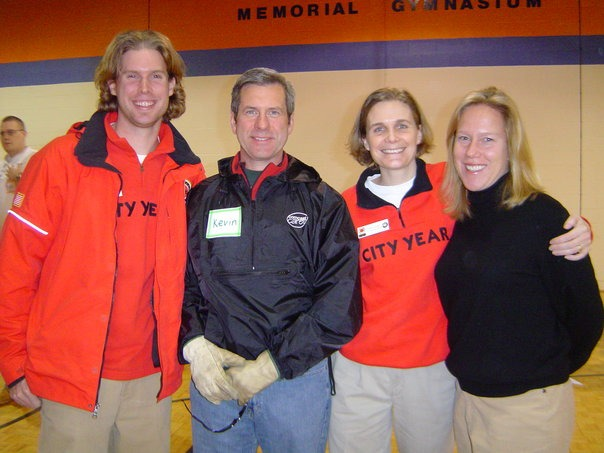 Matt Wilhelm, circa 2005, stands with three teammates during his City Year AmeriCorps year.