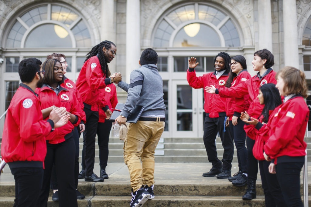 City Year AmeriCorps members morning greeting