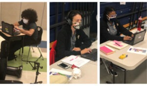 A series of photos showing City Year AmeriCorps members working at computers and supporting distance learning in the online classroom