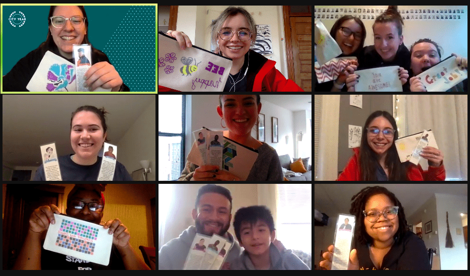 A screenshot of nine individuals displaying their art from a recent service day via Zoom.