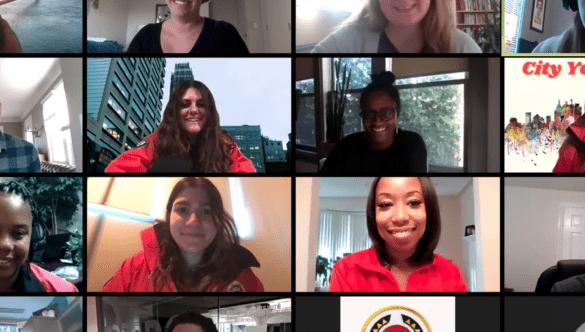 Zoom screenshot of 12 City Year AmeriCorps members meeting