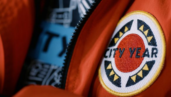 City Year AmeriCorps Red Jacket Closeup