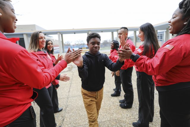 City Year Memphis morning greeting for students